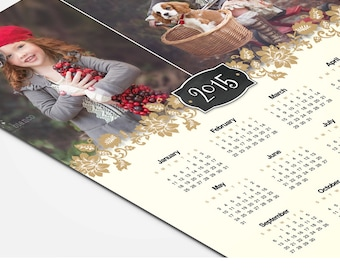 Calendar Template - Two Years -  2016, 2017 - 8x10 Photo Calendar - Fiore - 1349