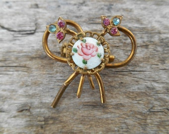 """Dainty Vintage Bow Pin with Enameled Rose & Rhinestones, 1 1/4"""" (32 mm), Pink, Green, Bronze, Valentine's Day Brooch"""