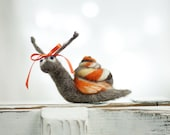 Needle Felt Snail With A Orange Ribbon -Needle Felt Art Doll - Snail Miniature