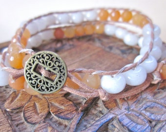 Dreamsicle Orange and White Beaded Double Wrap Bracelet