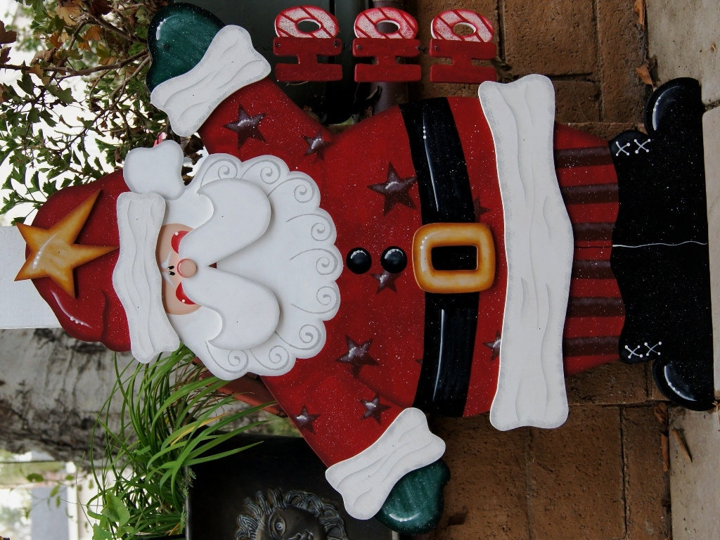 Ho ho ho santa christmas yard decoration wood christmas sign for Large outdoor christmas signs