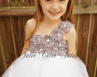 Shabby Chic Flower Girl Tutu Dress Grey and White