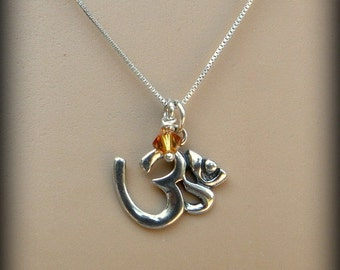 Sterling silver jewelry, OHM necklace, yoga jewelry, Chakra, meditation, Buddha symbol