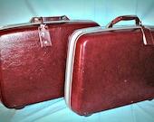 Vintage Samsonite Luggage / with Keys / Profile II  (2 pieces Burgundy/Red) / Luggage / Vintage Luggage