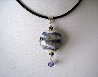 Leather necklace with glass bead.