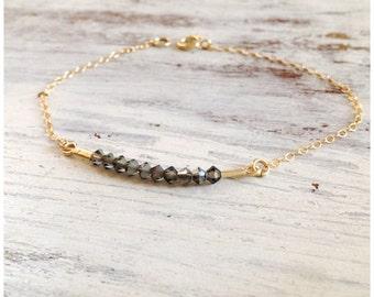 Delicate bracelet, birthstone bracelet, simple bar bracelet, dainty gold bracelet, gray bracelet, delicate Jewelry,gift for women  -21006