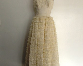 1950s Emma Domb ivory cupcake dress | vintage 50s cup cake party dress | bridal | small | The Heather Dress