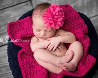 Newborn Pink Headband, Hot Pink Headband, Newborn Photo Prop, Baby Girl Prop, Newborn Headband, Flower Girl Headband