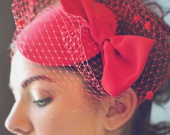 Red Hat, Red Fascinator, Headpiece, Kentucky Derby Hat, Steeplechase Hat, Famous Hat Luncheon Hat, Tea Party, Ruby and Cordelia's Millinery