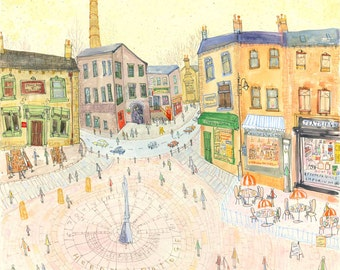 HEBDEN BRIDGE PRINT, Yorkshire Town Cafes Pubs, St Georges Square, Hebden Art Print, Signed Giclee, Watercolor Painting by Clare Caulfield