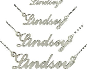 9ct WHITE GOLD Name Necklace Pendant Carrie Style ANY Name including White Gold Chain & Gift Box