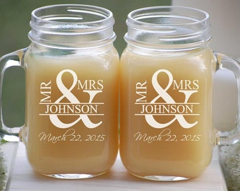 Personalized Mason Jar Wedding Glassware with Handle, Mr. and Mrs. Custom Fonts Left or Right Handle