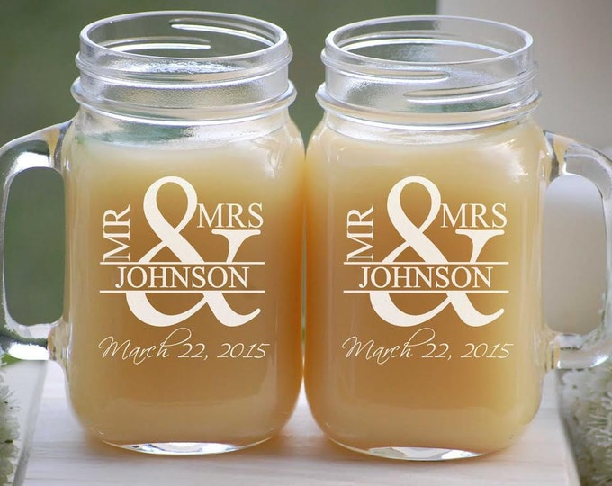Featured listing image: Personalized Mason Jar Wedding Glassware with Handle, Mr. and Mrs. Custom Fonts Left or Right Handle