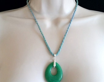 Glass Pendant and Kumihimo Cord Necklace