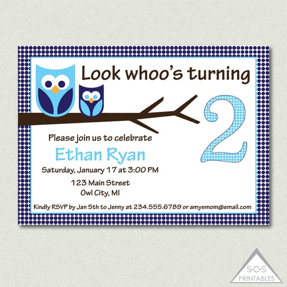 Party, Digital Invite, Boy Birthday, Blue Owl Birthday, Whoos turning ...