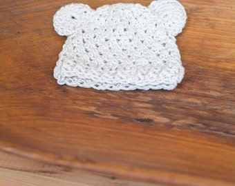 Newborn crochet bear ear hat, gender neutral newborn photo prop