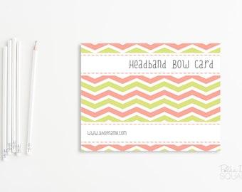 Headband Card Bow Card Display Card design Printable Custom Premade Chevron