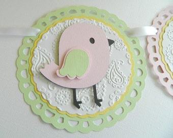 """Bird """"Baby"""" Banner, Bird Shower Banner, Pink Bird Banner, Bird Baby Shower"""