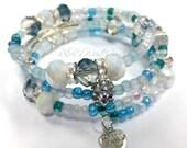 Blue Beaded Bracelet, Coil Beaded Bracelet, Memory Wire Wrap Bracelet,  Stretch Bracelet, Handmade, Custom, Beaded Jewelry