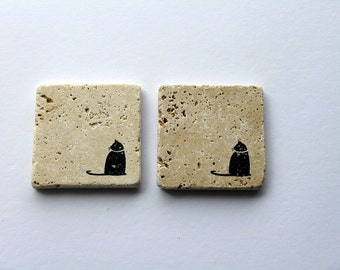 Rustic Stone Coaster, Black Cat, Travertine Tile coaster, Tumbled stone tile, Stocking stuffer, Cat gift