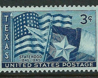 Vintage Unused US Postage Stamp 3c Texas Statehood stamp of 1945.. Pack of 10