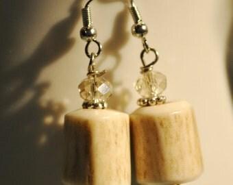 Genuine deer antler earrings with crystals and pearls, hunting earrings, deer hunter
