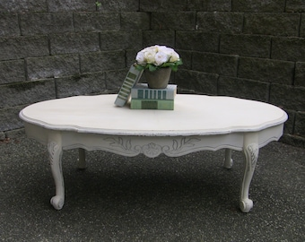 Oval Coffee Table Distressed Chippy Rustic Cottage Coffee Table