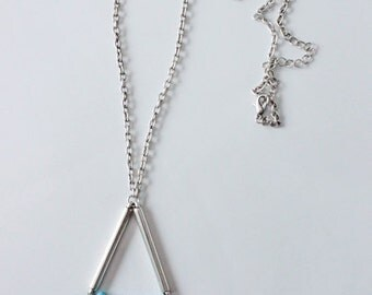 SALE 20% OFF reduced price! Blue howlite spike pendant long silver necklace; handmade