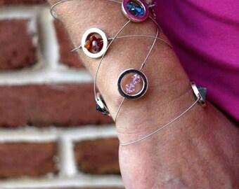 Guitar String Bracelet - Silver Charm Bracelet - Wire Wrap Jewelry - Amethyst - Sapphire - Amber - Emerald - Steampunk Jewelry - Circles