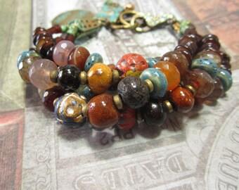 Chunky Beaded Boho, Gypsy, Bohemian Style Bracelet