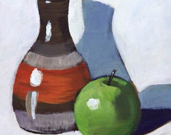 "Still life painting 6x6"" original small painting acrylic on panel green apple and orange brown vase impressionist fine art by Cristina Jacó"