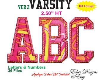 """Varsity 2.50"""" HT Letters & Numbers BX Format Machine Embroidery Applique Designs Digital Download"""