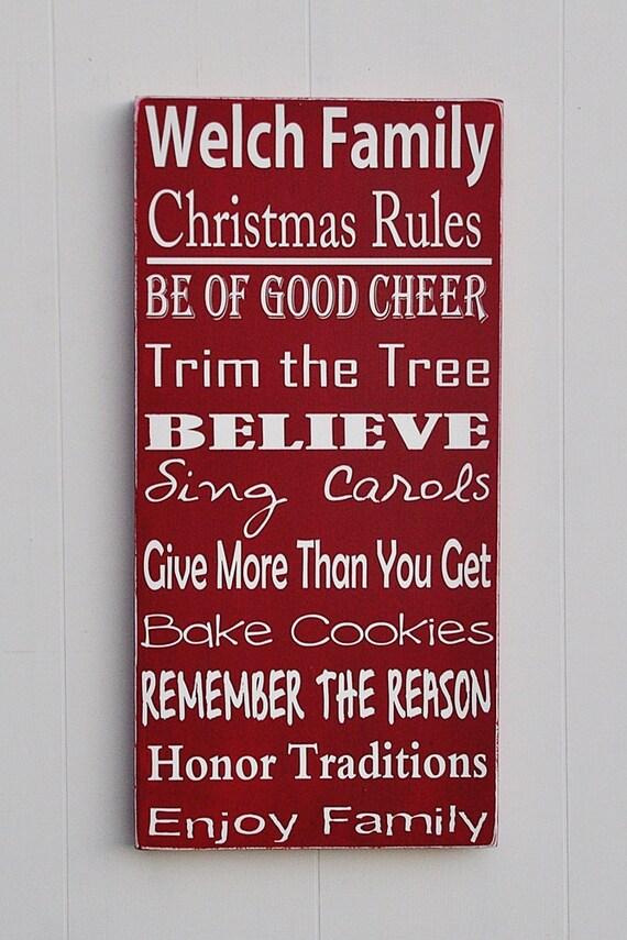 Christmas Family Rules Sign Holiday Decor Christmas Decor