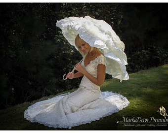 Wedding Parasol Bridal Umbrella with Multi Layers of Gorgeous Fabric 1pc in Ivory