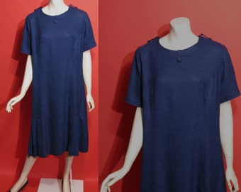 Vintage 1960's Real Mod 60's Linen Navy Blue Pleated Womens Dress - XL