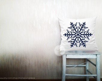 Snowflake pillows holiday decorative throw pillows snow pillows winter pillows throw Christmas pillows holiday decor 24x24 inches pillows