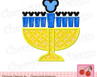 "Chanukah Mickey Hanukkah Machine Embroidery Applique Design - 4x4 5x5 6x6"""