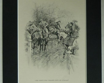 1930s Vintage Equestrian Print by Gilbert Holiday from The Midnight Steeplechase first edition - Moyra Charlton, 1930s horse riding decor