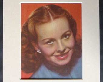Vintage Hollywood Print Of Jeanne Crain Pin-up artwork of the star of Pinky and Cheaper by the Dozen - Old Movie Gift - 1950s Film Decor