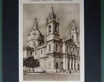 1930s Vintage Sepia Architectural Print, Lisbon's Estrela da Basilica Portuguese church architecture decor, European cultural design picture