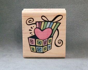 Heart Rubber Stamp - Gift of Heart - Love - Handmade Cards - Craft Supplies
