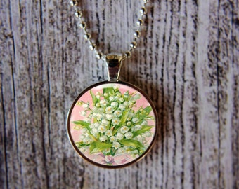 Lily of the Valley Necklace, May Birth Month Necklace, Lily of the Valley Jewelry, May Flower of the Month, Mothers Day Gift,  May Birthday
