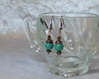 Boho Gypsy Turquoise and Copper Earrings - Gypsy Jewelry