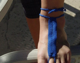 Deep blue hand crocheted barefoot sandals