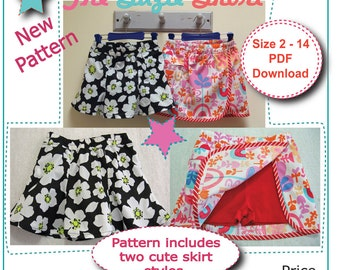 The Suzie Skort pdf sewing pattern for girls 2 to 14 years, girls shorts/skort sewing pattern with two versions included