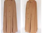 Vintage Kashmiracle 1960s 70s Cream Tan Cape Swing Coat Cape Coat Mod Jacket Maxi Coat Cloak Formal Mad Men Medium Large Preppy Fall Winter
