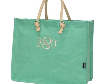 Juco Tote Bag Mint All Natural with Free Embroidery
