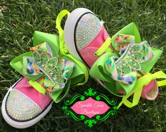 TINKERBELL SHOES - Tinkerbell Costume - Tinkerbell Party - Tinkerbell bows - Crystals - Lavender Converse - Infant/Toddler/Youth