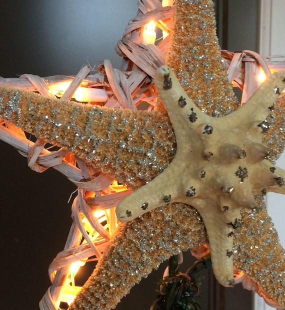 Hawaiian Christmas Tree Topper: Starfish Tree Topper Christmas Tree Topper Lighted Tree Star