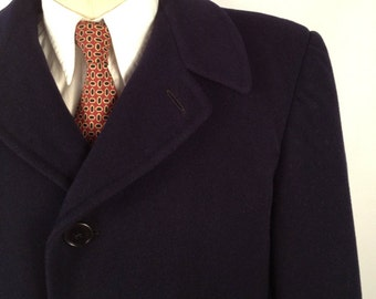SALE Vintage 1950s Wool Navy Blue Overcoat Made by Alpagora Size 40
